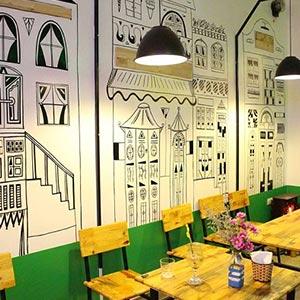 Giấy dán tường quán cà phê